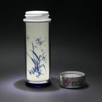 CBDI45-H手工双层陶瓷内胆青花图纹保温杯 旅行杯