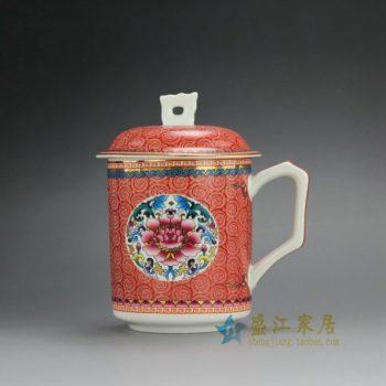 CBDI39-E 手绘新彩团花荷莲图茶杯 品茗杯 办公杯 泡茶杯 尺寸: 口径 8.8厘米 高 14.8厘米 容量 450毫升