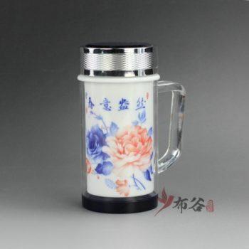 CBAJ06-A 9704手工双层隔热粉彩陶瓷内胆带柄茶杯 保温杯 养生杯