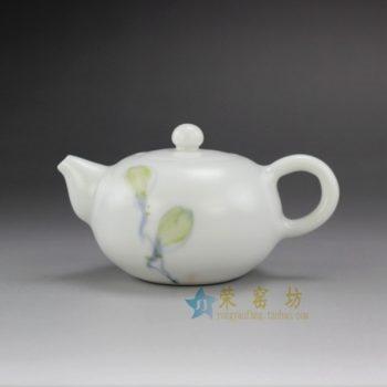 14CY01 1199手绘粉彩花蕊图纹亚光釉茶壶