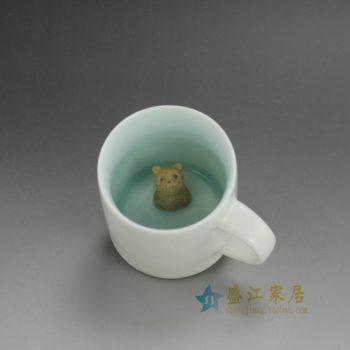 RZFE05 颜色釉茶杯 杯内置雕塑小动物茶杯 个性创意茶杯 品茗杯 尺寸: 口径 7.8厘米 高 8.1厘米 容量 220毫升