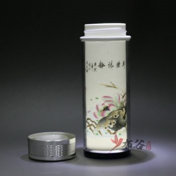 CBDI45-F 手工双层陶瓷内胆粉彩保温杯 旅行杯 养生杯