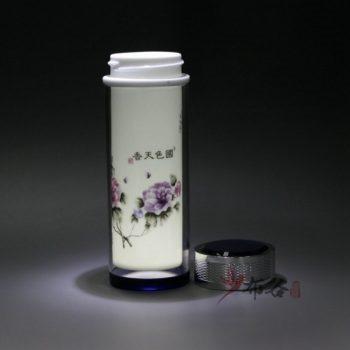 CBDI45-C手工双层隔热陶瓷内胆粉彩国色天香旅行杯 保温杯 养生杯