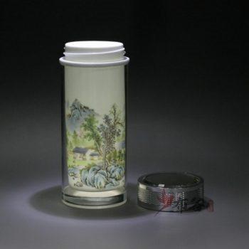 CBDI44-B手工双层隔热陶瓷内胆粉彩旅行杯 保温杯 养生杯