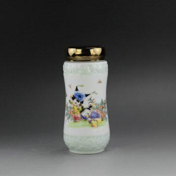 RYUB02 手绘粉彩婴戏图茶杯 旅行杯 双层保温杯
