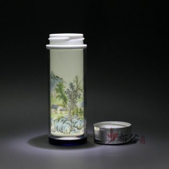CBDI45-G 手工双层陶瓷内胆粉彩保温杯 隔热旅行杯 随手杯 养生水杯