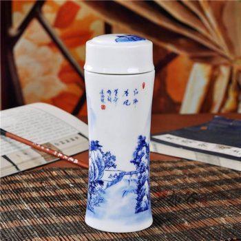 CBAJ05-A-03手工全瓷双层隔热青花江南春晓图保温杯 旅行杯 养生杯