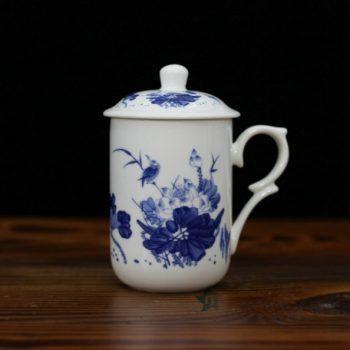 CBDI48-D手绘青花骨瓷茶杯 泡茶杯 老板杯 办公杯 尺寸; 口径 7.7厘米 盖径 8.6厘米 高 13.8厘米 容量 350毫升