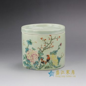 RYBE11-B 1588手绘粉彩鸟语花香蟋蟀罐