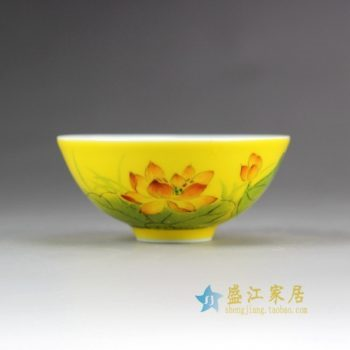 14DR157手绘粉彩荷花图茶碗 茶具 茶杯 品茗杯 功夫茶杯