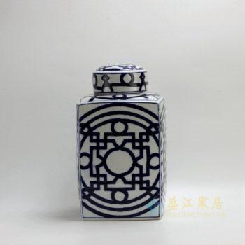 RYPU21 2431手绘青花窗格图茶叶罐 储物罐 盖罐 尺寸: 口径 10厘米 肚径 22.5厘米 高 39厘米