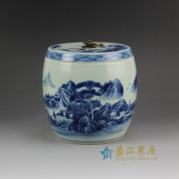 RZCC05 2922手绘青花山水风景人物盖罐 瓷坛 储物罐
