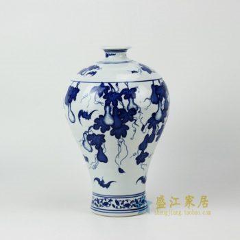 RYUJ06 2617j125手绘青花瓜果图梅瓶 花瓶 花插 工艺摆件 尺寸 :口径 6厘米 肚径 19.8厘米 高 30.8厘米