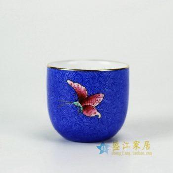 RYMY21-B 3111手绘扒花蝴蝶纹茶杯 品茗杯 功夫茶具 尺寸:口径 6.2厘米 高 5.8厘米 容量 65毫升