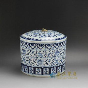 RZFR01 2339手绘青花缠枝莲图纹带环盖罐 茶叶罐 储物罐 尺寸:口径 21.5厘米 肚径 22.8厘米 高 21厘米