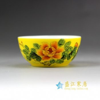 14DR158-A手绘粉彩黄地花卉图纹茶碗  茶杯 品茗杯 功夫茶杯