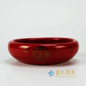 RZFV01 3092颜色釉 手绘福字图文茶缸 花缽 水洗 水盂 尺寸: 口径 19.2厘米 肚径 22.3厘米 高 7.2厘米