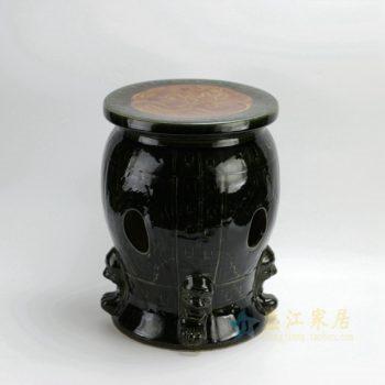 RYAZ213 2452颜色釉镂空雕刻狮首图瓷凳 凉墩 尺寸: 面径 28厘米 肚径 29.5厘米 高 39厘米