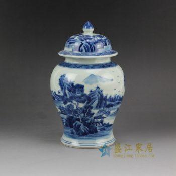 RZCC02 2907手绘青花山水风景画将军罐 盖罐 储物罐