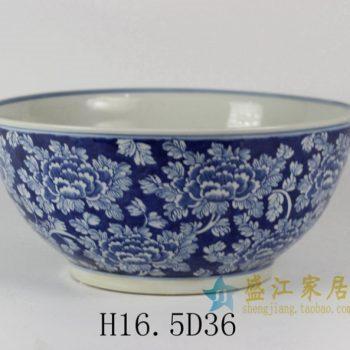 RYLU31 1688手绘青花花卉图花盆 花缸