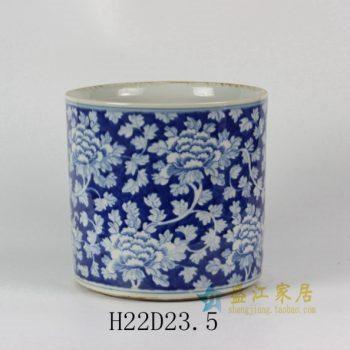 RYLU24-B 1665手绘青花缠枝花卉图花缽 香炉笔筒