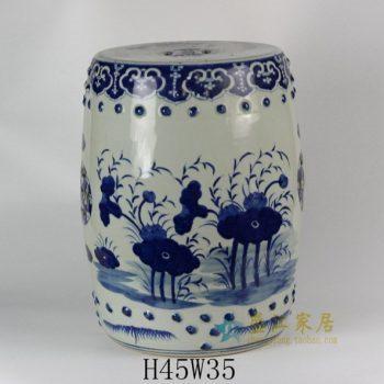 RYLU18 1809手绘青花荷莲图鼓凳 凉墩 瓷凳