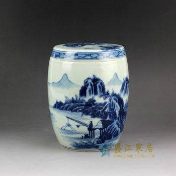 RZCC03手绘青花山水风景人物画 陶瓷茶叶罐 盖罐 瓷罐罐子 茶具