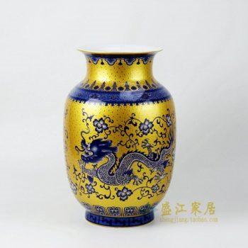 RZFT01 2611手绘黄地青花腾龙图冬瓜瓶 花瓶 工艺装饰摆件 尺寸: 口径 17.6厘米 肚径 23.5 厘米 高 36厘米