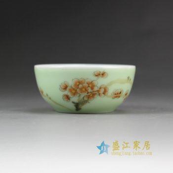 14DR158-B 2861手绘粉彩梅花图 茶杯品茗杯 功夫茶具