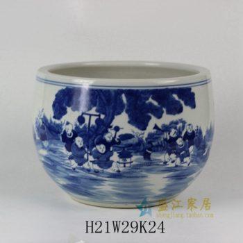 RYLU32 1690手绘青花婴戏图花盆 花缸 花缽