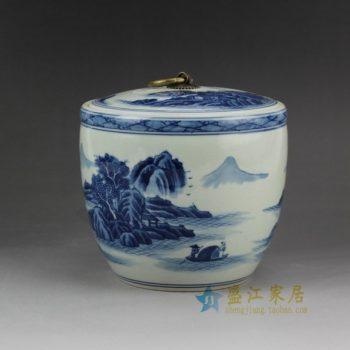 RZCC04 2917手绘青花山水风景人物画瓷坛 盖罐 储物罐