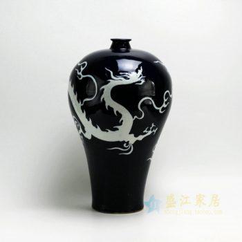 RYZI01-B 2526颜色釉手绘腾龙图梅瓶 花瓶 工艺装饰摆件 尺寸: 口径 5.2厘米 肚径 25.5厘米 高 42.8厘