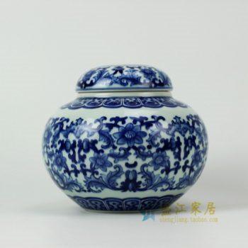 RZDD19 2622手绘青花缠枝花卉茶叶罐 盖罐 密封罐 尺寸:口径 8.8厘米 肚径 16.5厘米 高 14.3厘米