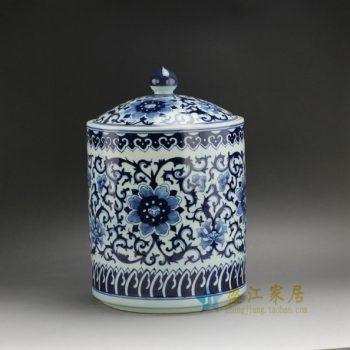 RZFQ02 2344手绘青花缠枝花卉图纹茶叶罐 盖罐 储物罐 尺寸: 口径 21厘米 肚径 22.2 厘米 高 33.3厘米