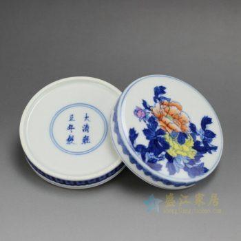 4AS141-F 2394仿古手绘青花斗彩花卉图纹印泥盒 尺寸:口径8.6厘米 肚径 9.5厘米 高 3.8厘米