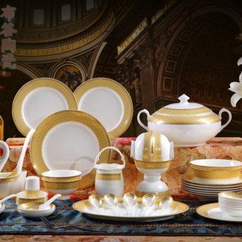 CJ28黄金镶边编织纹骨瓷餐具套装 56头景德镇骨瓷餐具