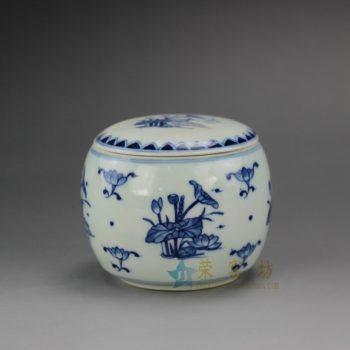 RYZ158 手绘青花荷莲图茶叶罐 盖罐 密封罐 尺寸: 口径 7.3厘米 肚径 8.6厘米 高 7.3厘米