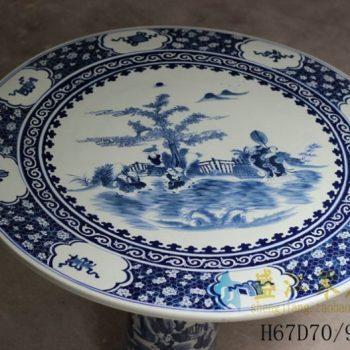 RYLU56-A 手绘青花山水风景人物画瓷桌