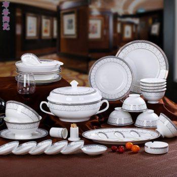CJ47特别天使金丝玫瑰图纹骨瓷餐具套装 56头景德镇骨瓷餐具