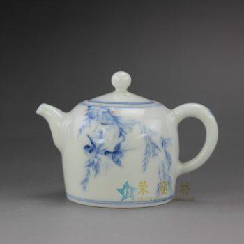 RYZ166 手绘青花鸟鸣翠柳图茶壶 泡茶壶 尺寸: 口径 4.3厘米 肚径 6.8厘米 高 7.5厘米 容量 120毫升