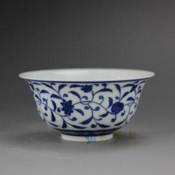 RYZ169 手绘青花缠枝花卉图纹 茶杯 茶碗 汤碗 尺寸: 口径 9厘米 高 4.3厘米 容量 110毫升