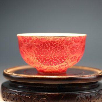 RYMY20-D手绘粉彩扒花茶杯 品茗杯 功夫茶具
