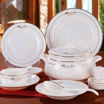 CJ25景德镇骨瓷餐具套装 56头烫金英文纹饰骨瓷餐具