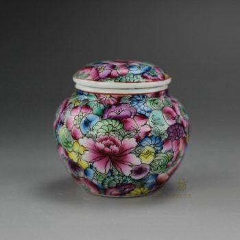 RYIC32-B 手绘粉彩万花图茶叶罐 盖罐 密封罐 尺寸: 口径 4.5厘米 肚径 6.6厘米 高 6.3厘米