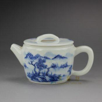 RYZ167 手绘青花 山水风景画茶壶 泡茶壶 尺寸: 口径 6.5厘米 肚径 7.3厘米 高 6.3厘米 容量 145毫升