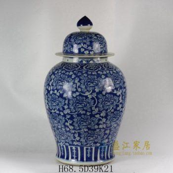 RYLU47 1802手绘青花缠枝花卉图将军罐 盖罐 储物罐