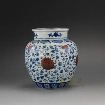 RYZ162手绘青花缠枝花卉双盖茶叶罐 盖罐 储物罐 尺寸: 口径 7.6厘米 肚径 15厘米 高 16.5厘米