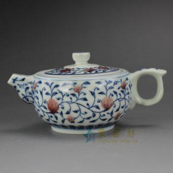 RYZ165 手绘青花缠枝花卉图纹茶壶 泡茶壶 尺寸: 口径 6.8厘米 肚径 8.5厘米 高 6.6厘米 容量 170 毫升