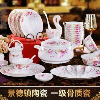 CJ27勾莲玫瑰图纹骨瓷套装餐具 56头景德镇一级骨瓷餐具