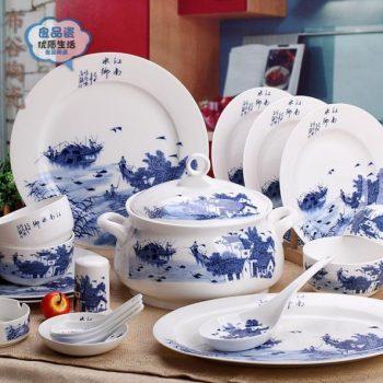CJ32景德镇骨瓷餐具套装 青花56头江南水乡图文骨瓷餐具